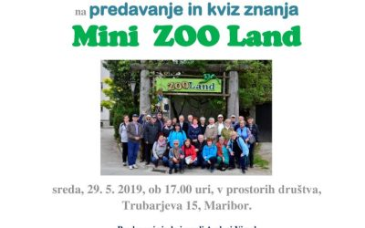 29. 5. 2019 Vabilo- predavanje in kviz znanja Mini Zoo Land
