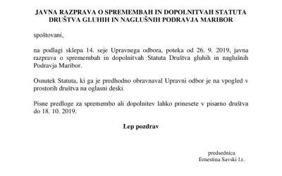 Javna razprava Statut 2019