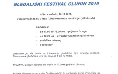 26. 10. 2019 Vabilo na gledališki festival gluhih 2019