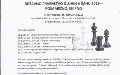 16. 2. 2019 Vabilo na DP gluhih v šahu – Ljubljana