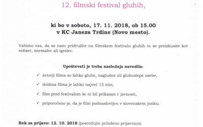 17. 11. 2018 12. filmski festival gluhih – Novo mesto